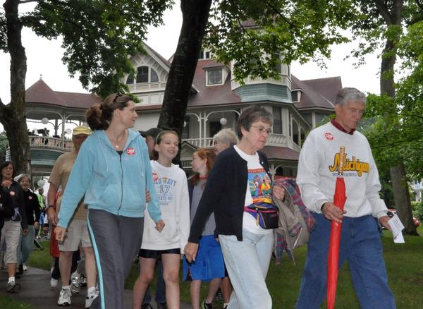 Walkers stroll the shady streets in Bay View during last year's Petoskey-Bay View CROP walk.