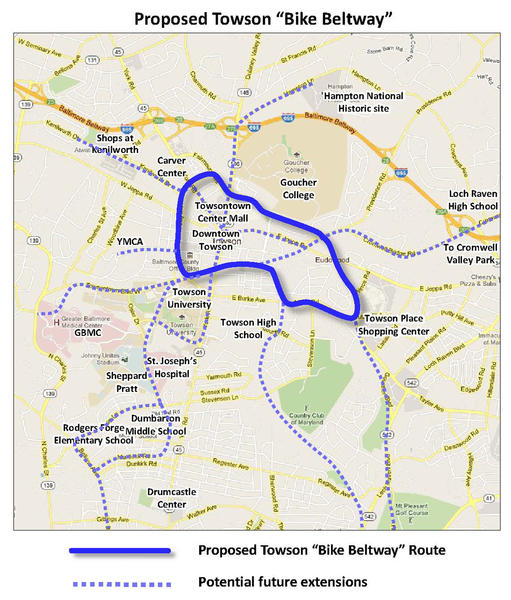 "The proposed ""Bike Beltway"" around Towson, highlighted in blue. Future proposed extensions are highlighted in the dashed blue line."