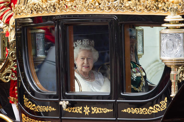 Britain's Queen Elizabeth II leaves Buckingham Palace to address Parliament at the official State Opening of Parliament ceremony on May 9, 2012 in London, England.