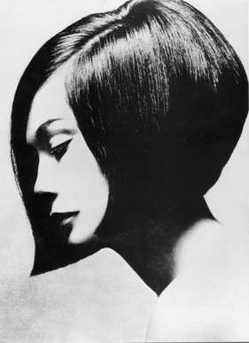 "The Vidal Sassoon bob on actress Nancy Kwan, from the book, ""Vidal Sassoon and the Bauhaus."""
