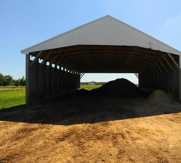 Under new rules being drafted by the Maryland Department of Agriculture, farmers would have to store poultry manure in sheds like this through fall and winter, rather than put it on fields.