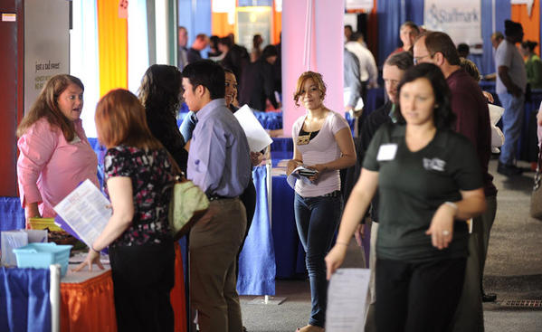 Job seekers walk on the concourse at Coca-Cola Park Wednesday.    The Morning Call and CareerBuilder hosted the 5th annual career fair there.