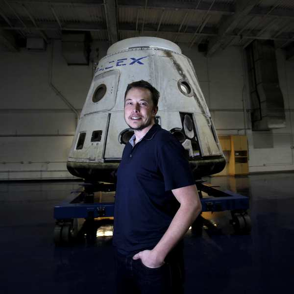 Elon Musk with the SpaceX Dragon capsule on display at Hawthorne company Space Exploration Technologies Corp., better known as SpaceX. This Dragon capsule became the first private spacecraft to achieve orbit and return to Earth. Armed with his personal fortune and a Rolodex full of Silicon Valley venture capitalist contacts, Musk started SpaceX, or Space Exploration Technologies Corp., and co-founded electric car company Tesla Motors Inc. in Palo Alto.