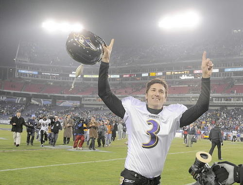 Ravens kicker Matt Stover, shown here leaving the field after the Ravens beat the Tennessee Titans, 13-10,  a second-round playoff game, was the team's kicker for its first 13 years of existence. Stover is the franchise's all-time leading scorer, recording 1,464 points. He finished as the NFL's fourth all-time leading scorer and third in field-goal accuracy. In the Ravens' 2000 Super Bowl season, Stover scored 49 straight points during the five-game touchdown drought. But he just wasn't the Ravens' best kicker. He was one of their top-10 all-time players.