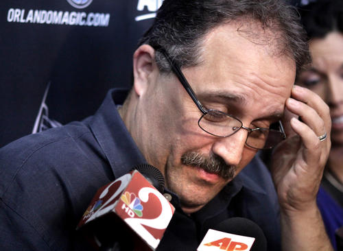 Orlando Magic head coach Stan Van Gundy answers a question at Amway Center while meeting with reporters Wednesday, May 9, 2012, following the Magic's loss to Indiana in the NBA Playoffs, Tuesday night.