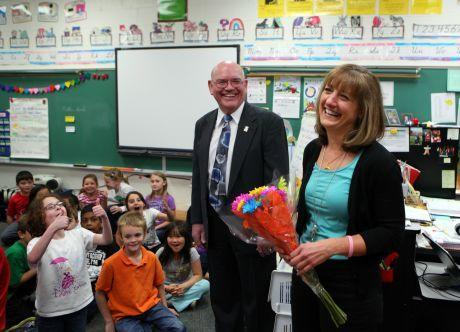 Naperville teacher Kathy Burns wins Golden Apple Award.