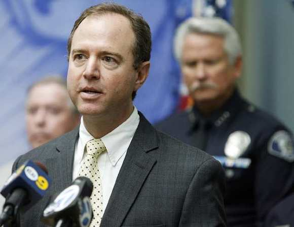 Rep. Adam Schiff at a press conference in Glendale on April 12, 2012.