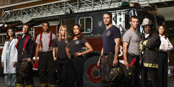 "The ""Chicago Fire"" cast (from left): Teri Reeves as Hallie, David Eigenberg as Christopher Hermann, Charlie Barnett as Peter Mills, Lauren German as Leslie Shay, Monica Raymund as Gabriella Dawson, Taylor Kinney as Kelly Severide, Jesse Spencer as Matthew Casey, Eamonn Walker as Battalion Chief Walter Boden, Merle Dandridge as Kay Fitori."
