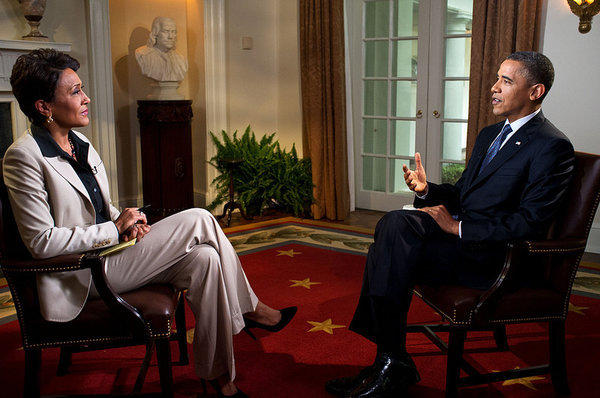 "President Obama is interviewed at the White House by Robin Roberts of ABC's ""Good Morning America."""