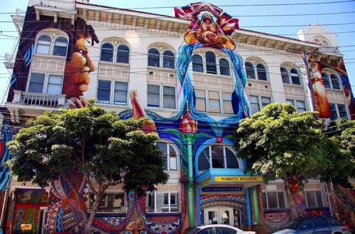 """The Women's Building mural, or """"Maestrapeace"""" mural, was painted in 1994 and was the work of seven women artists and many helpers."""
