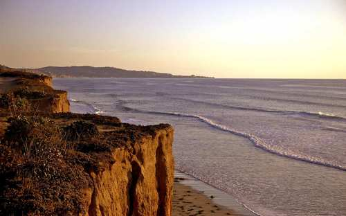 Dusk falls over the bluffs at Del Mar.