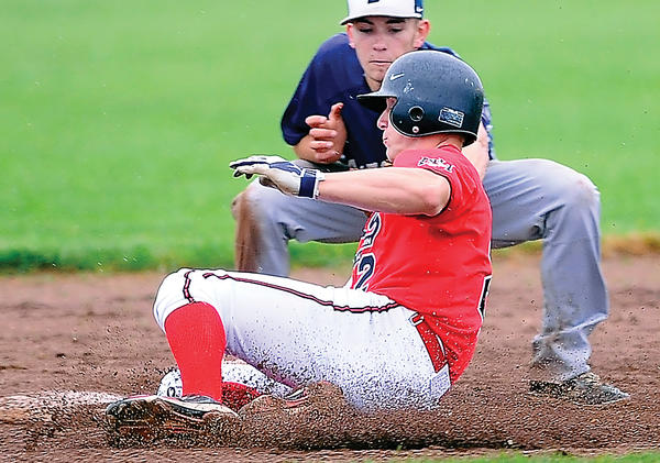 North Hagerstown's Philip Pietro is tagged out at second base by Catoctin's Alex Kennedy for the second out in the bottom of the sixth inning Wednesday at North.