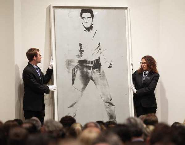 "Andy Warhol's ""Double Elvis"" at Sotheby's auction in New York."