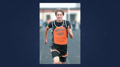 Somerset's triple winner Dan Meyer makes his way across the finish line during Wednesday's LHAC track and field championships.