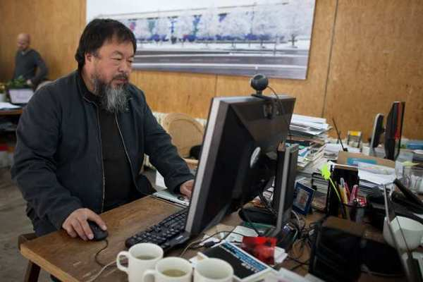 Artist Ai Weiwei at his Beijing office in April.