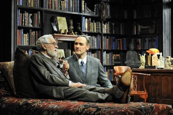 "Mike Nussbaum (Sigmund Freud) and Coburn Goss (C.S. Lewis) star in the Mercury Theater production of ""Freud's Last Session."""