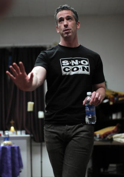 Author and activist Dan Savage before speaking at Elmhurst College on Sunday.