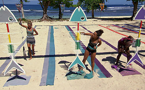 "L-R: Chelsea Meissner, Alicia Rose and Sabrina Thomson, of the Tikiano tribe during the immunity challenge, ""Bone to Pick."""