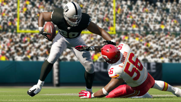 "A screenshot of ""Madden NFL 13,"" due out Aug. 28."