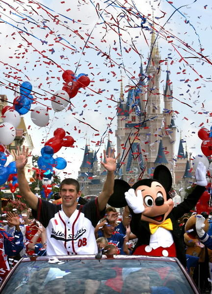 Magic Kingdom and a Main Street Parade were the first stop on U.S. soil after swimmer Michael Phelps won eight gold medals at the Beijing Games in 2008.