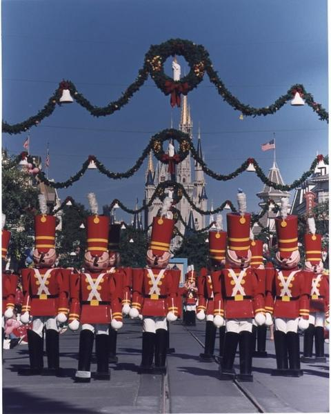 Toy soldiers have marched through the Magic Kingdom during Mickey's Very Merry Christmas Parade and Mickey's Once Upon a Christmastime Parade.