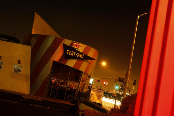 Caption: Yummy Teriyaki, at the corner of Atlantic and Beverly boulevards in East L.A., takes its design cues from the '80s L.A. School architecture. (Luis Sinco / Los Angeles Times)