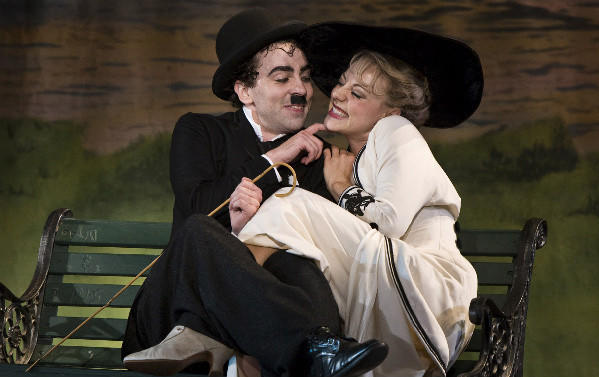 "A scene from ""Limelight: The Story of Charlie Chaplin"" at the La Jolla Playhouse in 2010, with Rob McClure and Kirsten Scott."