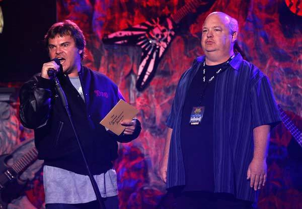 Jack Black and Kyle Gass of Tenacious D speak on stage at the fourth annual Golden Gods awards at Nokia theatre in Los Angeles.