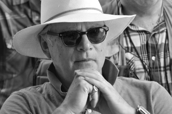"Filmmaker Barry Levinson on the set of his upcoming film ""The Bay."""