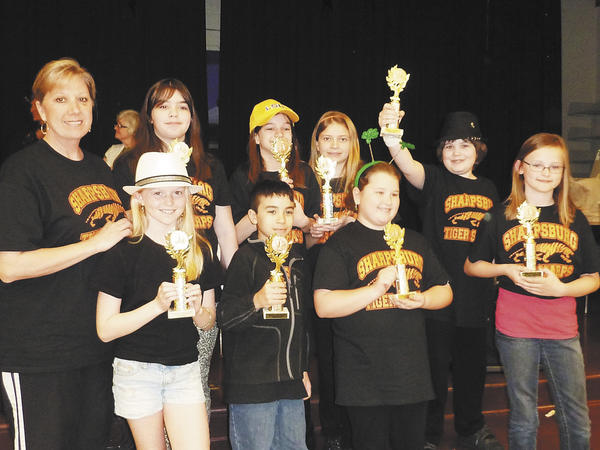 Sharpsburg Elementary School fifth-graders competed in the Battle of the Books competition held at Eastern Elementary School on March 17. They placed third in the oral competition. Front row, from left, Ellie Bare, Stanley Allison, Kylie Brown and Taylor Lowe. Back row, Mrs. Blood (parent coach), Erika Robertson, Isabella Prenger, Peyton Blood and Andrew Hartman.
