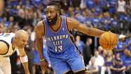 Oklahoma City Thunder guard James Harden won the NBA's Sixth Man of the Year award on Friday, receiving 115 of a possible 119 first-place votes.