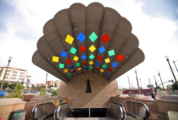 The colorful, fanning street-level entrance to the Mariachi Plaza Station pops out in Boyle Heights.