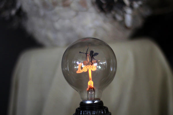 "This ""love"" bulb is at Urban Cottage was in the building when Melissa Zambrano and husband <a class=""taxInlineTagLink"" id=""PECLB003574"" title=""George Romero"" href=""/topic/entertainment/movies/george-romero-PECLB003574.topic"">George Romero</a> opened the store. It was a sign that this was the place to be, Zambrano said."