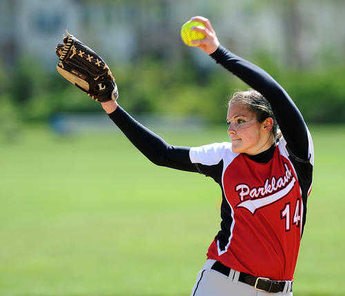 Parkland's pitcher Rachel Smerdon (14) delivers a pitch against Whitehall High School Thursday afternoon.