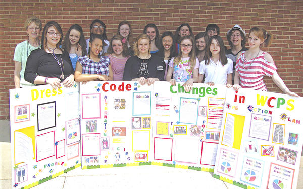 The Smithsburg Middle School team finished first in the 6th Congressional District Project Citizen Showcase. Team members include, front row, from left, Logenne Marquiss, Sydny Boney, Sarah Day, Christina Barnes, Jennifer West, Morgan Henderson and Cara Smith; and back row, adviser Nancy Souders, Katherine Hedges, Amira Hartley, Taylor Smith, Sarah Stanford, Quinn Wandalowski, Cheyenne Betson, Jennifer Barnes, Josh Dorsey and Max Gamerman.