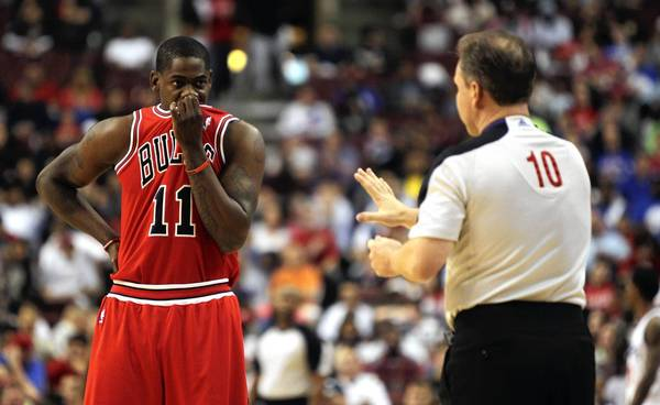 Chicago Bulls shooting guard Ronnie Brewer reacts to a referee after a foul was called on him in the first half of game 6 of the first round of NBA playoffs at Wells Fargo Center in Philadelphia.