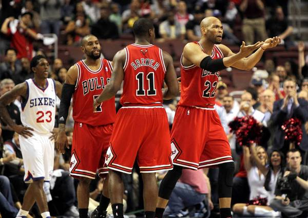 Chicago Bulls forward Taj Gibson argues a call with a referee in the first half of game 6 of the first round of NBA playoffs at Wells Fargo Center in Philadelphia. Gibson was called for a technical.