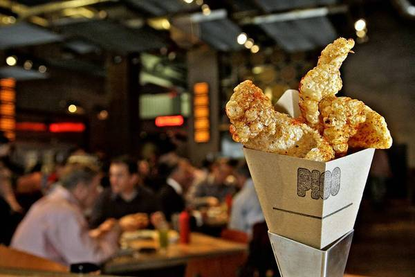 Cone O' Cracklins, a snack of fried pig's ears, from Umamicatessen.