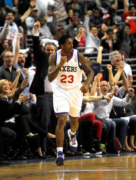 Philadelphia 76ers point guard Lou Williams celebrates a 3-pointer against the Chicago Bulls in the first half of game 6 of the first round of NBA playoffs at Wells Fargo Center in Philadelphia.