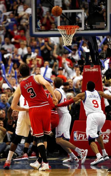 Chicago Bulls center Omer Asik misses a second free throw late in the 4th quarter against the Philadelphia 76ers in game 6 of the first round of NBA playoffs at Wells Fargo Center in Philadelphia.