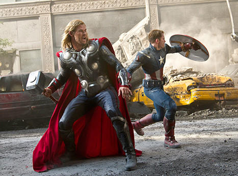 Thor (Chris Hemsworth) and Captain America (Chris Evans) join forces in The Avengers. Credit: Marvel