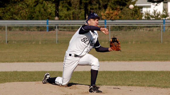St. Mary senior Gabe Nowicki delivers a pitch during the Snowbirds' extra innings loss to Mancelona Wednesday.