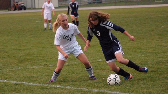 Sophomore Becca Pensyl has been a consistant contributor for the first place Gaylord soccer team this year.