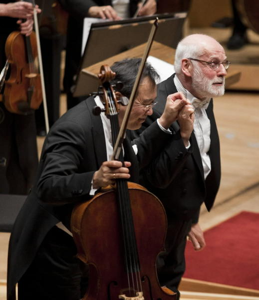 Yo-Yo Ma takes a bow with conductor Ton Koopman after their performance with the Chicago Symphony Orchestra at the Symphony Center on Thursday.