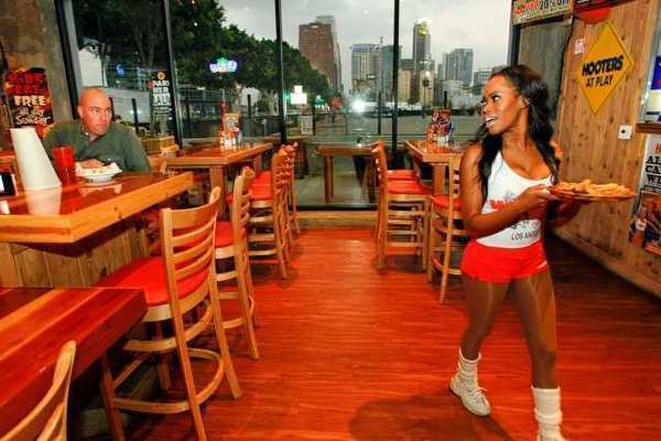 A Hooters restaurant in downtown Los Angeles. Mothers who decide to eat here get free wings on Mother's Day.