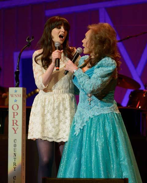 Country music legend Loretta Lynn announces from the stage of the historic Ryman Auditorium during Opry Country Classics that she has chosen Grammy and Golden Globe nominated actress and star of FOX TV's hit show, 'New Girl,' Zooey Deschanel to portray her in an upcoming Broadway-bound stage adaptation of Coal Miner's Daughter.