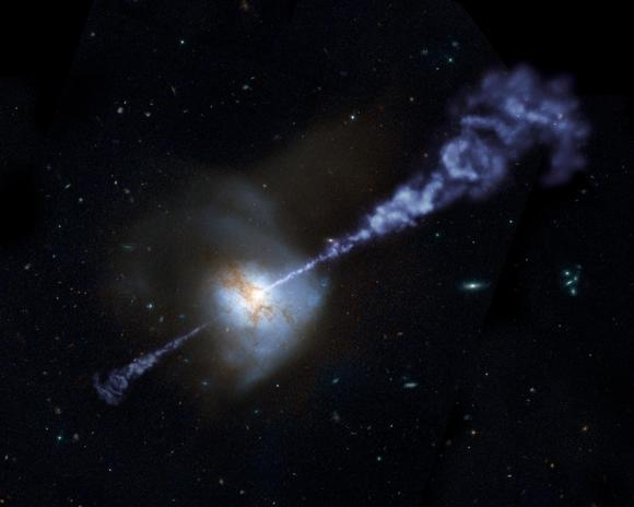 This NASA image shows a galaxy with an active black hole, spewing jets of gas from the galaxy core.