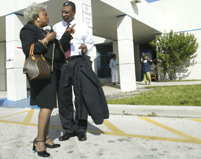Election Day 2004 Brenda Snipes, Broward County Supervisor of Elections, speaks with Deforest B. Soares Jr., U.S. Election Assistant Commissioner Chairman, in front of Martin Luther King, Jr. Elementary School in Fort Lauderdale on Tuesday where there was a voting poll.