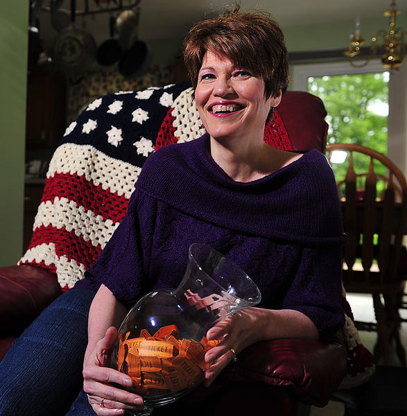 Melinda Malott hand-crocheted a United States flag that she is raffling to raise money for her daughter to go to London and Paris this summer through the People to People student leader ambassador program.