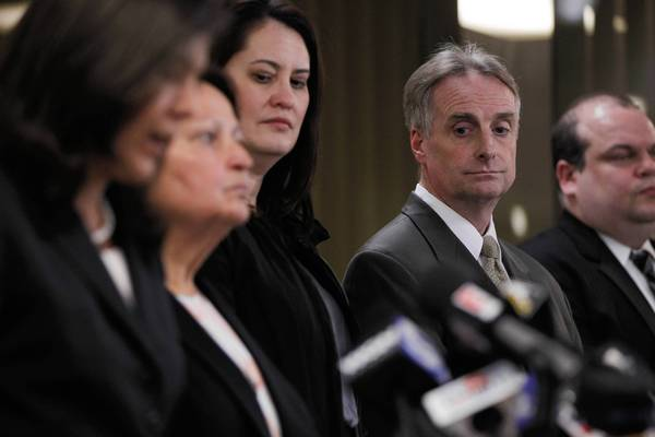 Jim McKay, lead prosecutor and Assistant State's Attorney (second from right) listens as Cook County State's Attorney Anita Alvarez (far left) holds a press conference at the Cook County Criminal Courthouse. Defendant William Balfour has been found guilty of murdering singer Jennifer Hudson's mother, brother and nephew in October 2008.